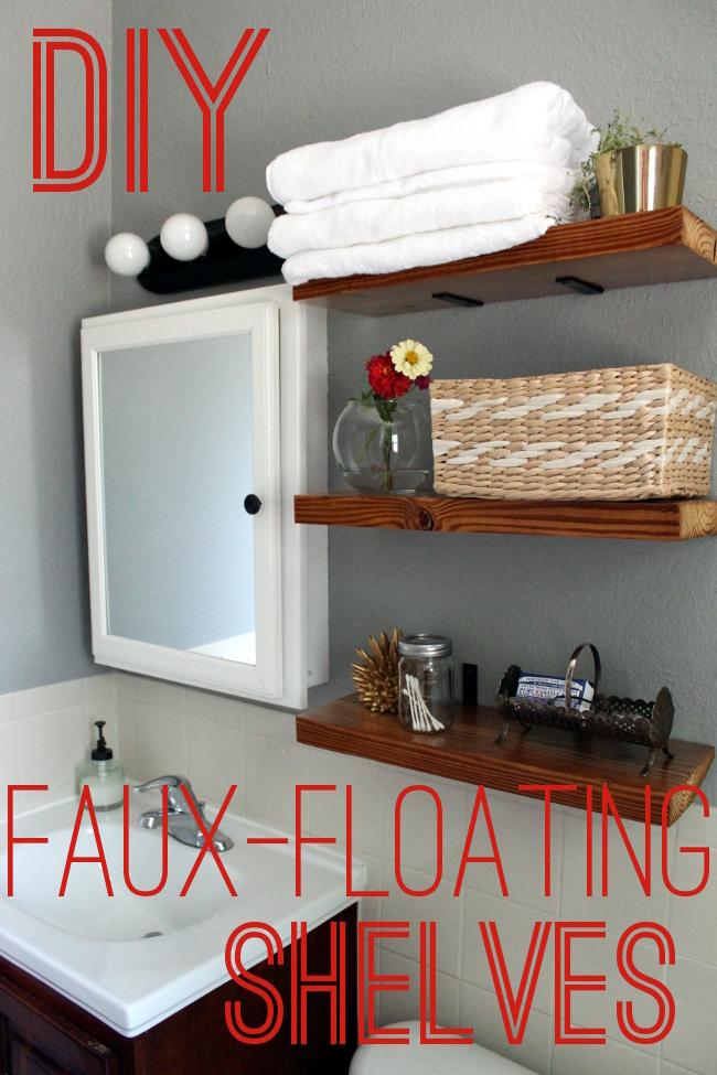 Faux floating bathroom shelves