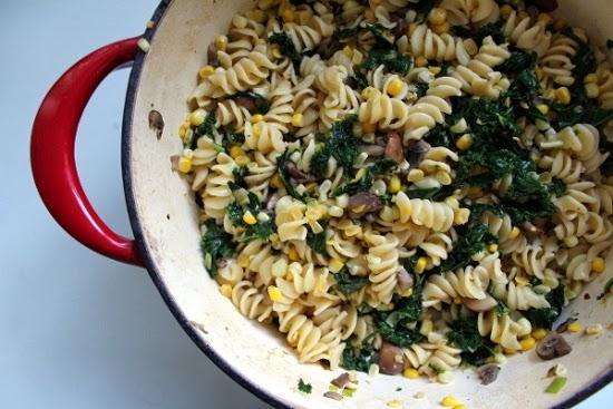 Kale, Corn, Mushroom Pasta