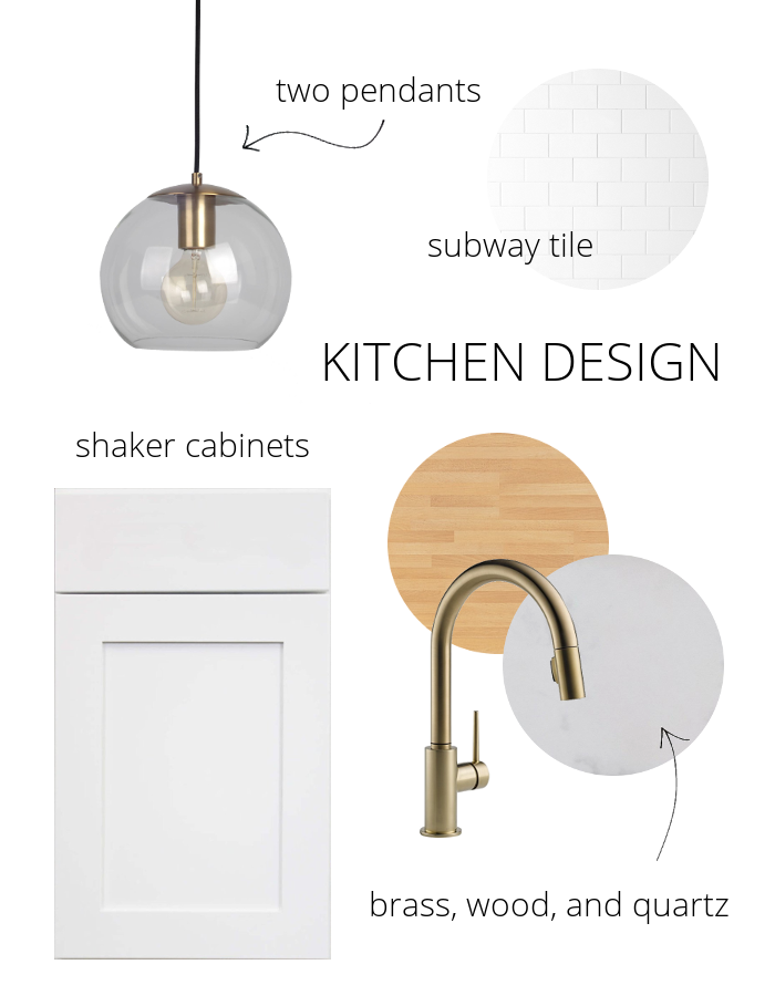 kitchen design - brass, wood, quartz