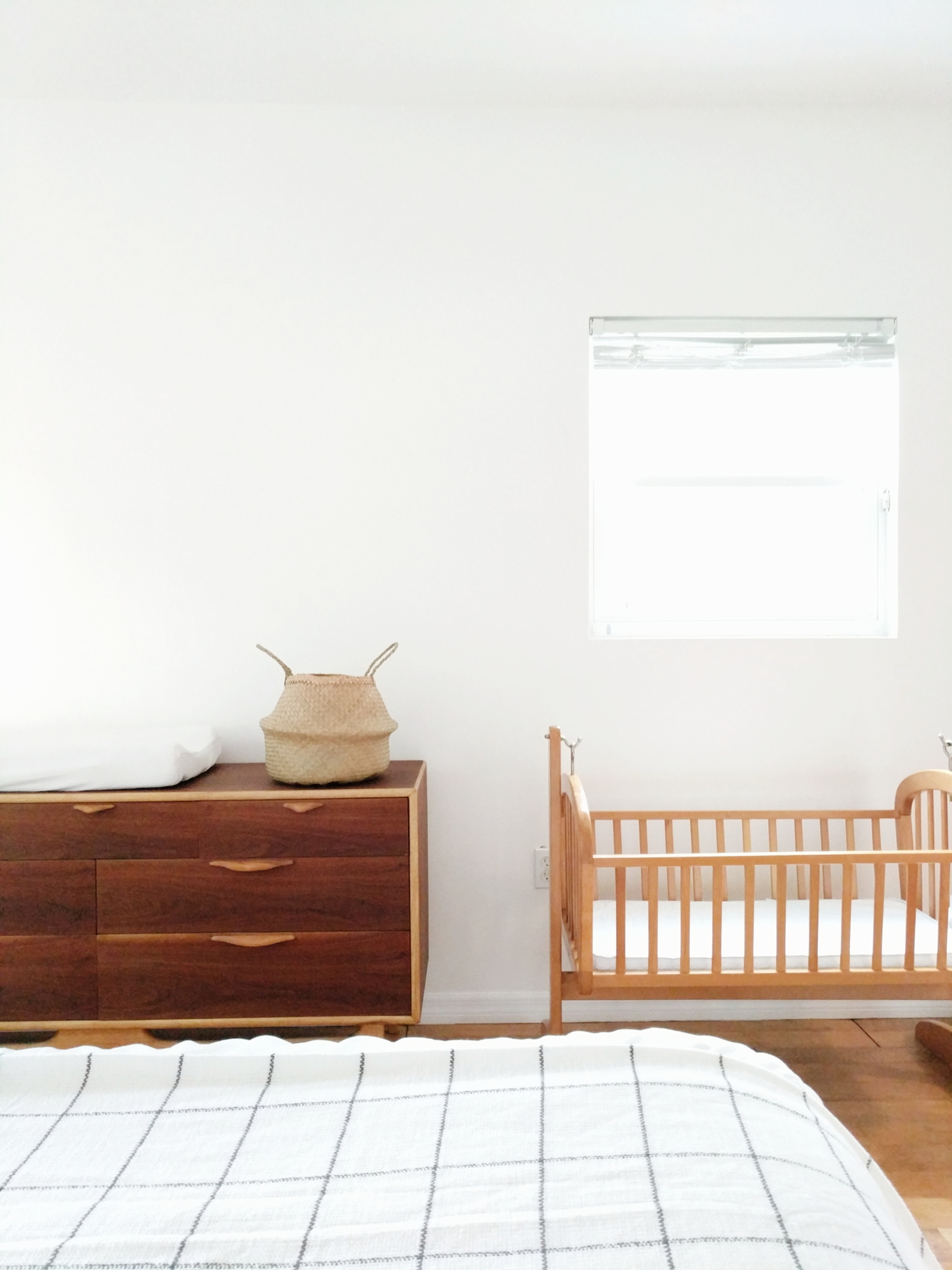 cradle, mid century changing table, nursery, bedroom