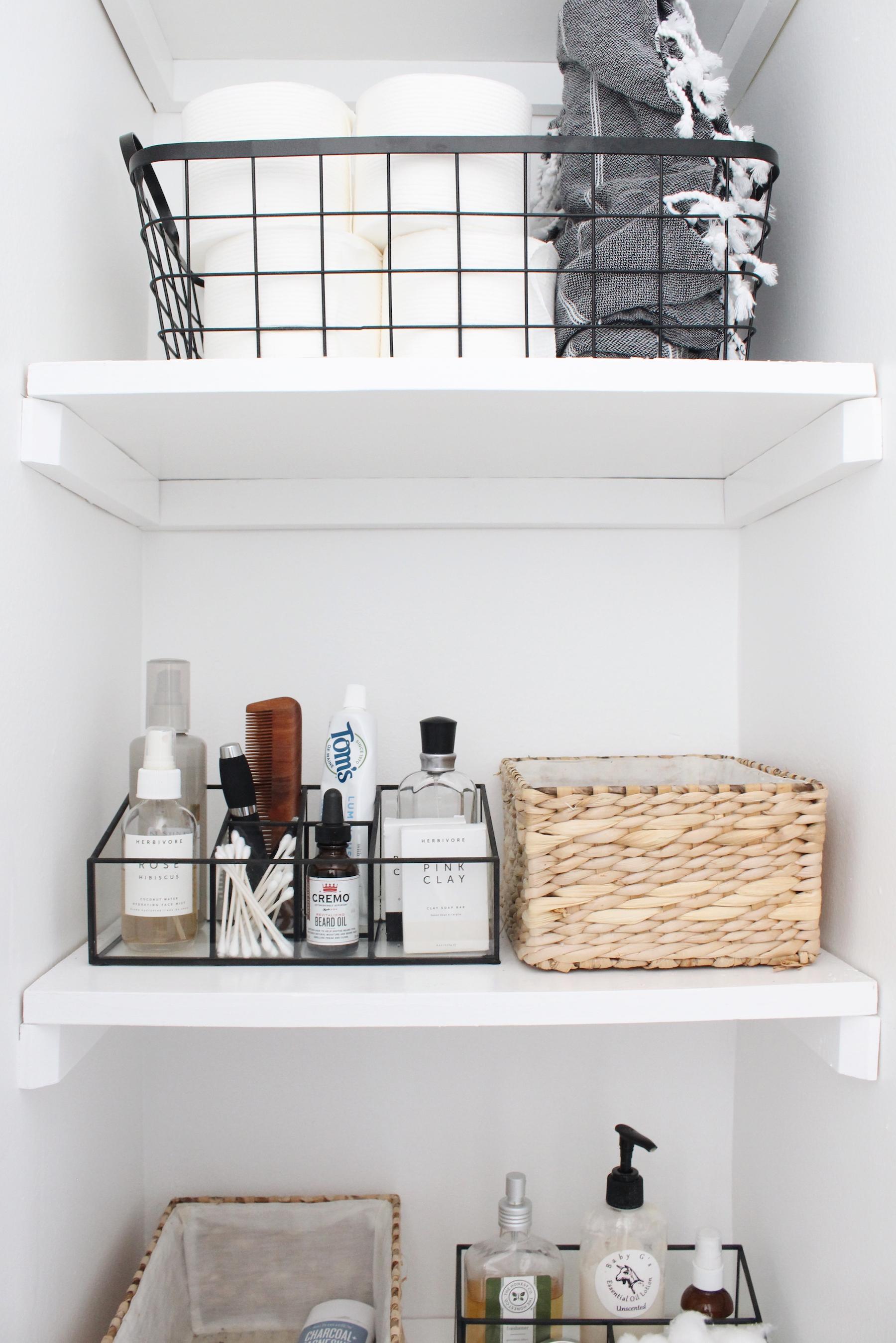 budget bathroom makeover shelves