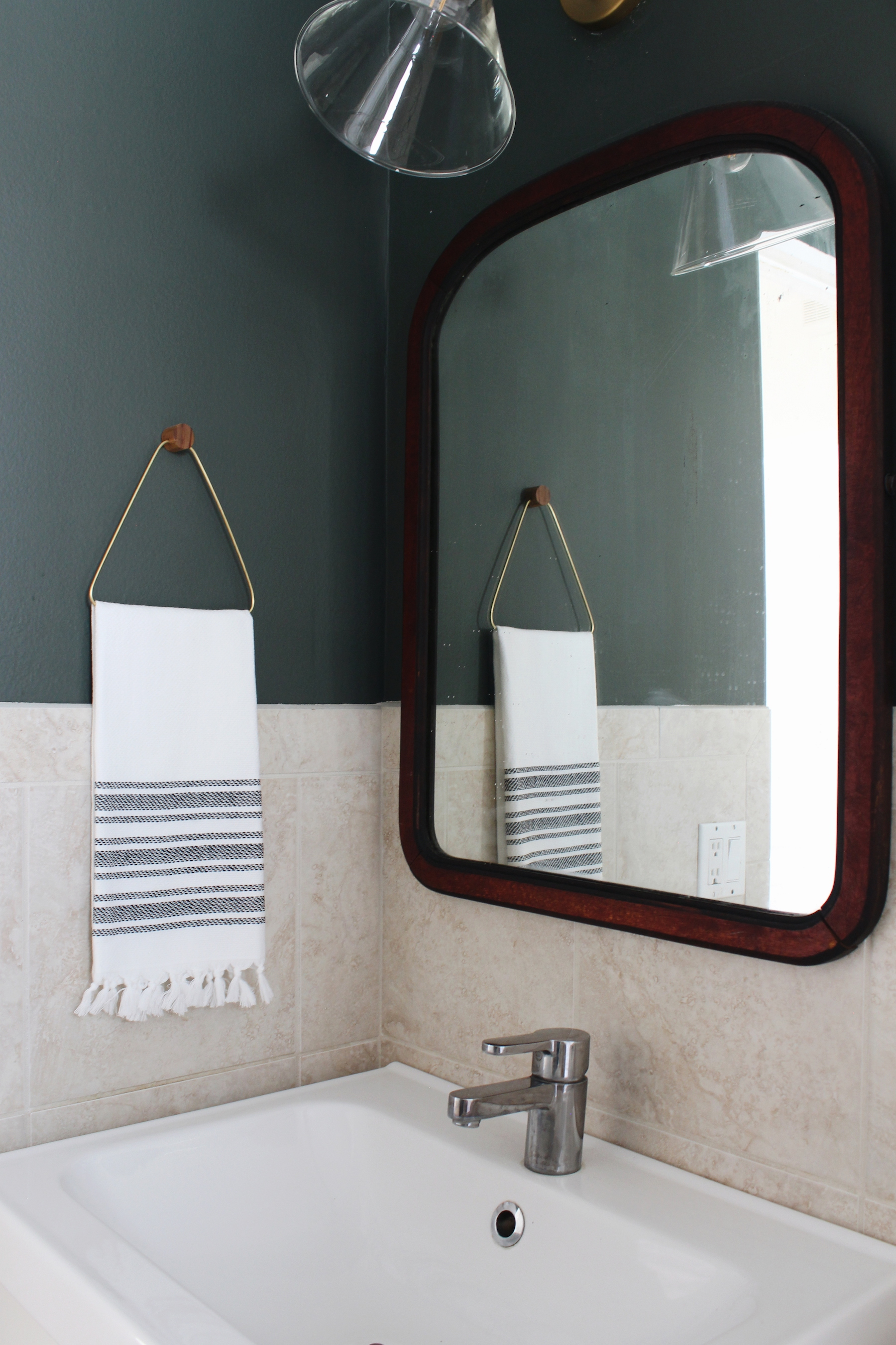 diy brass and wood towel holder