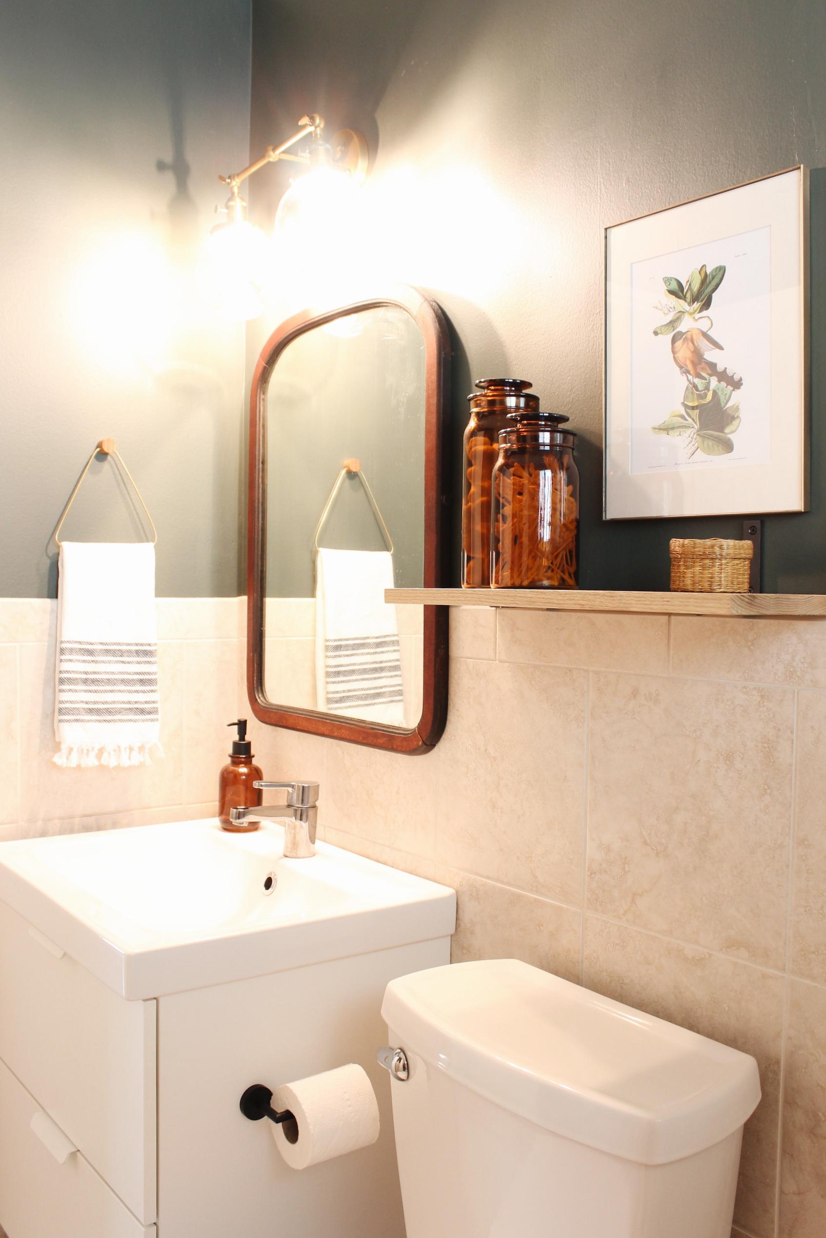 one room challenge green bathroom